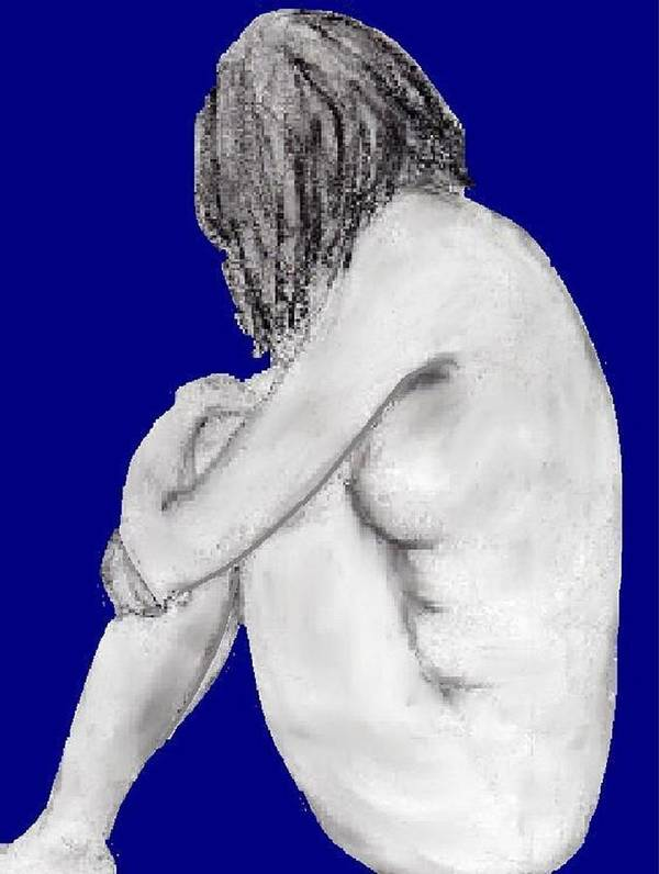 Nude Blue Sadness Contemplation Art Print featuring the drawing Blue Lady by Bethwyn Mills