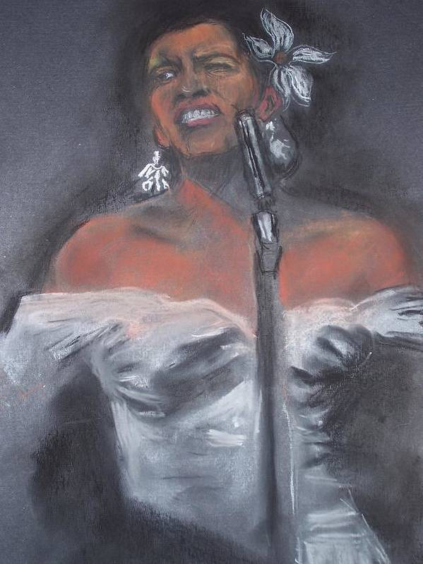 Billie Holliday Art Print featuring the drawing Blue Lady by Darryl Hines