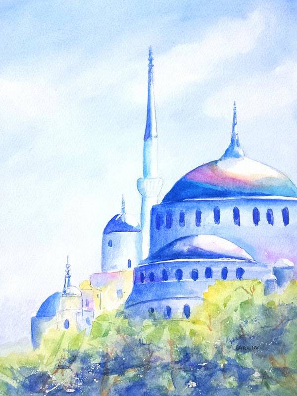 Istanbul Art Print featuring the painting Blue Mosque Istanbul Turkey by Carlin Blahnik CarlinArtWatercolor