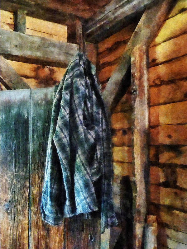 Jacket Art Print featuring the photograph Blue Plaid Jacket In Cabin by Susan Savad