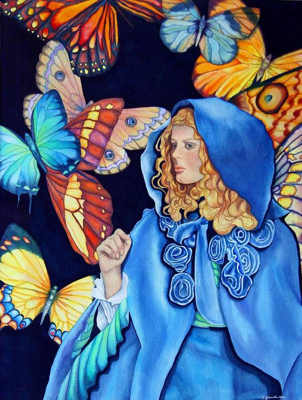 Woman/butterflies/fantasy Art Print featuring the painting Blue Riding Hood by Gail Zavala