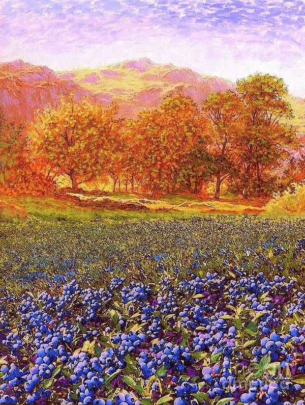 Meadow Art Print featuring the painting Blueberry Fields by Jane Small