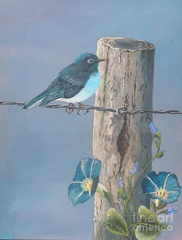 Bluebird Art Print featuring the painting Bluebird by John Wise