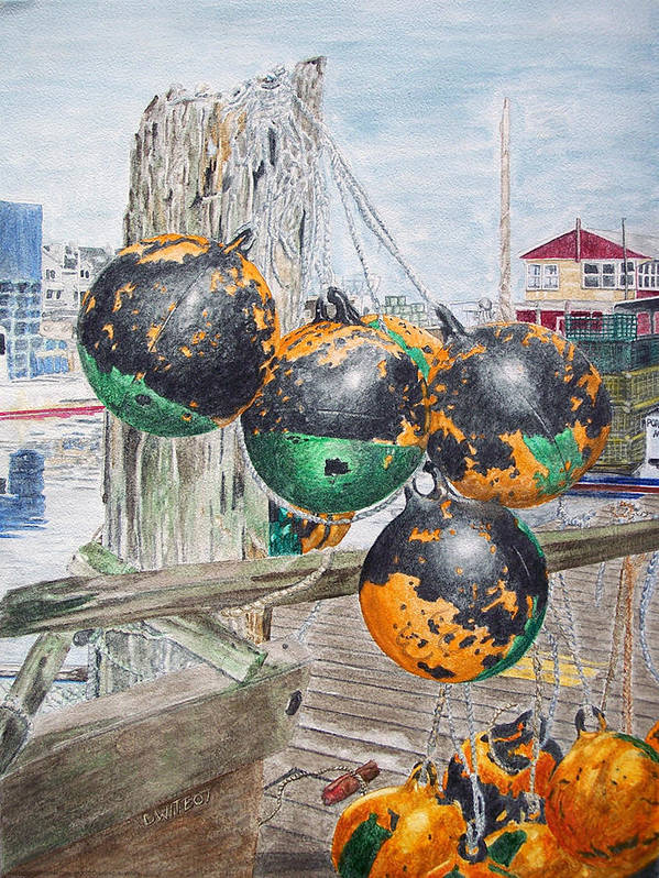 Boat Bumpers Art Print featuring the painting Boat Bumpers by Dominic White