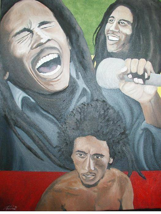 Portrait Art Print featuring the painting Bob Marley Montage by Angelo Thomas