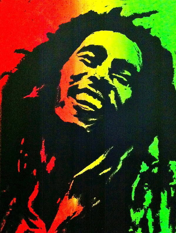 Bob Marley Art Print featuring the painting Bob Marley Smile by Siobhan Bevans