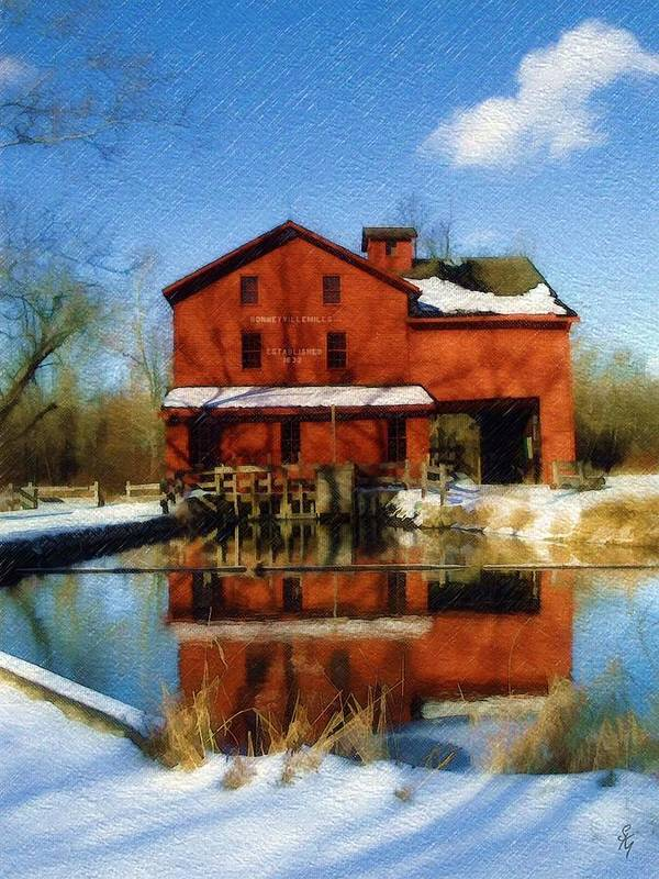 Bonneyville Mill Art Print featuring the photograph Bonneyville In Winter by Sandy MacGowan