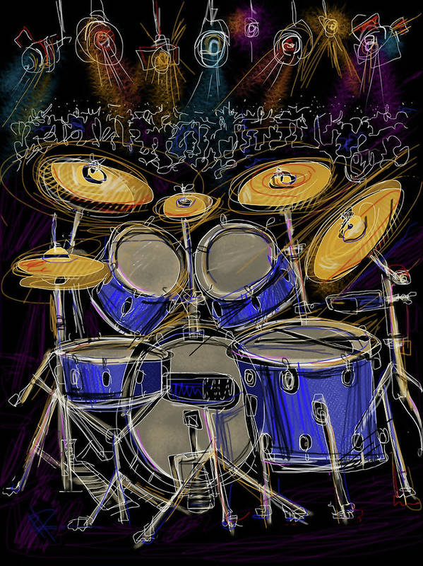 Drums Print featuring the digital art Boom Crash by Russell Pierce