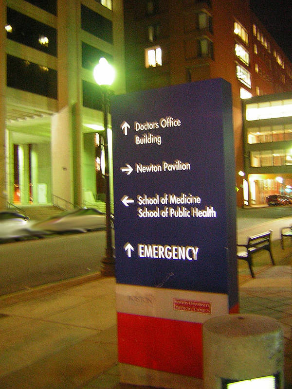 Boston Medical Center. Hospital Art Print featuring the photograph Boston Medical At Night by Heather Weikel