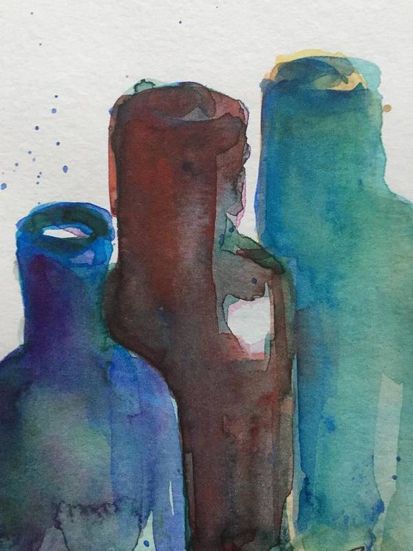 Bottles Art Print featuring the painting Bottles 3 by Britta Zehm