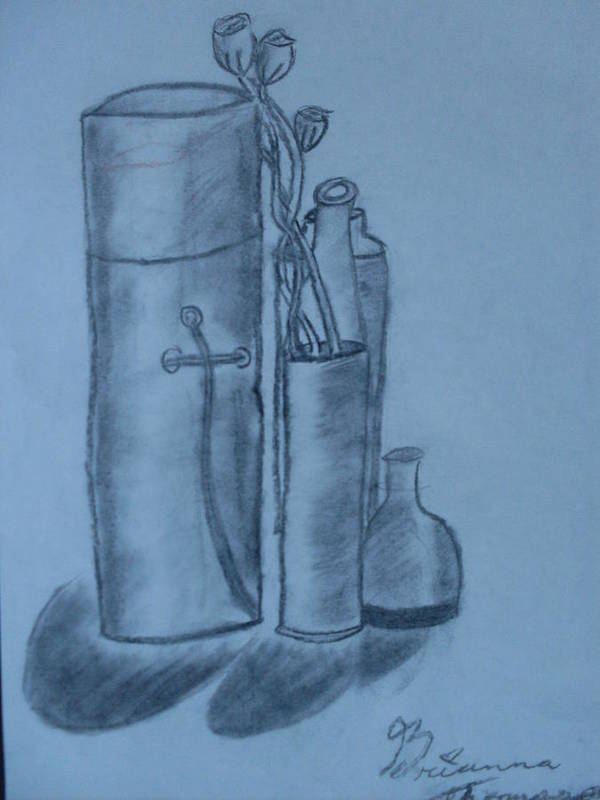 Charcoal Bottles Still Life Art Print featuring the drawing Bottles And Shadows by Brianna Emily Thompson