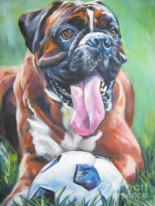 Boxer Art Print featuring the painting Boxer Soccer by Lee Ann Shepard