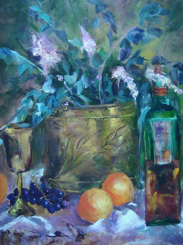 Still Life Art Print featuring the painting Brass With Oranges by Virgilla Lammons