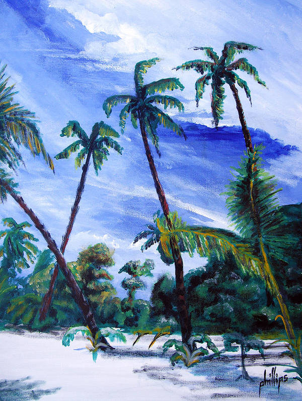 Palms Sky Blue Art Print featuring the painting Breezy Blue Skies by Jim Phillips