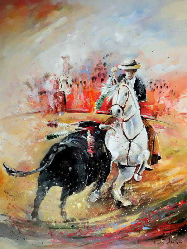 Toros Art Print featuring the painting Bullfight 3 by Miki De Goodaboom