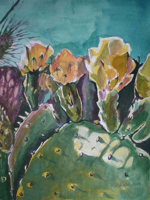 Desert Art Print featuring the painting Cactus Blossoms In Desert by Aleksandra Buha