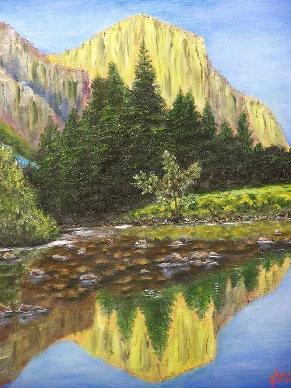 Waterscape Art Print featuring the painting Canyon Creek by Charles Vaughn