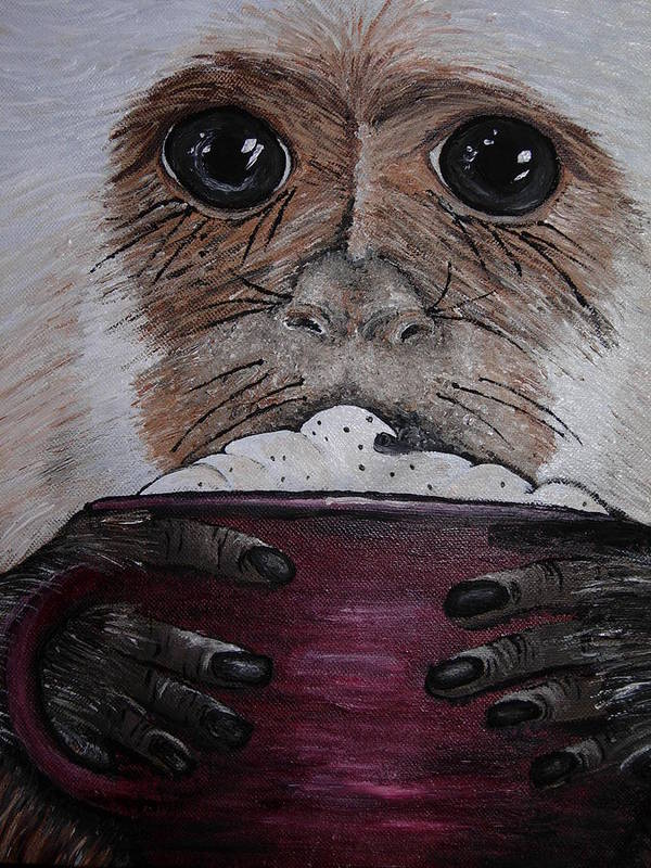 Capuchin Art Print featuring the painting Capuchino by Sharon Supplee
