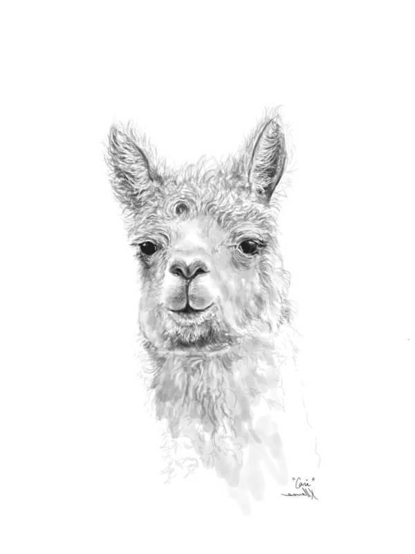 Llama Art Art Print featuring the drawing Cari by K Llamas