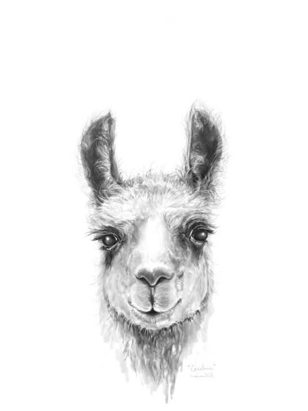 Llama Art Art Print featuring the drawing Caroline by K Llamas