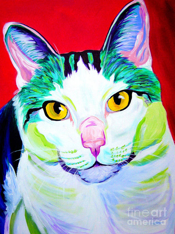 Cat Art Print featuring the painting Cat - Zooey by Alicia VanNoy Call