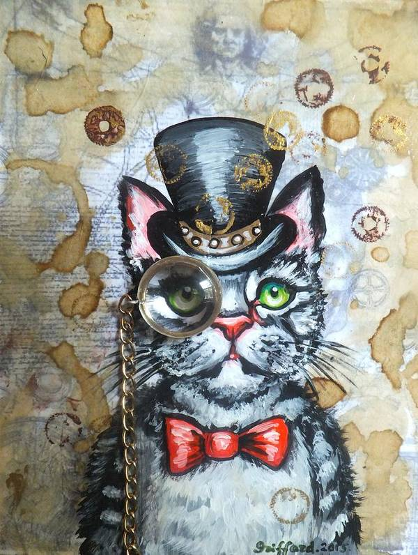 Cat In The Hat Steampunk Cogs Gears Clock Watch Parts Top Hat Bow Tie Gray Stripped Kitten Kitty Studs Monocle Glass Goggles Original Painting Victorian Era Antique Coffee Stains Aged Page Whimsical Adorable Cute Leonardo Da Vinci Hand Writing Letters Dr. Seuss Art Print featuring the painting Cat In The Hat by Anna Griffard