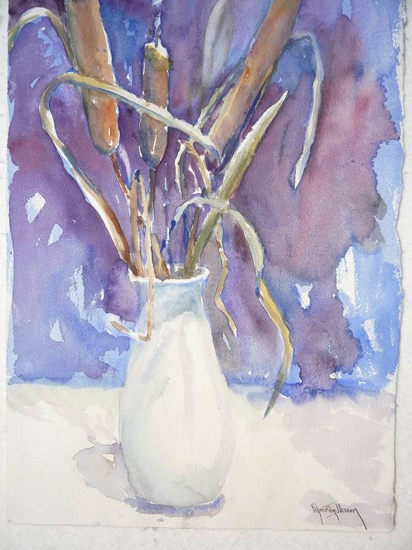 Still Life Art Print featuring the painting Cattails On White by Dorothy Herron