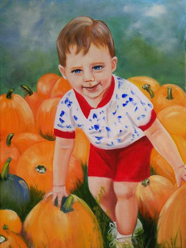 Portrait Art Print featuring the painting Chance With The Pumpkins by Joni McPherson