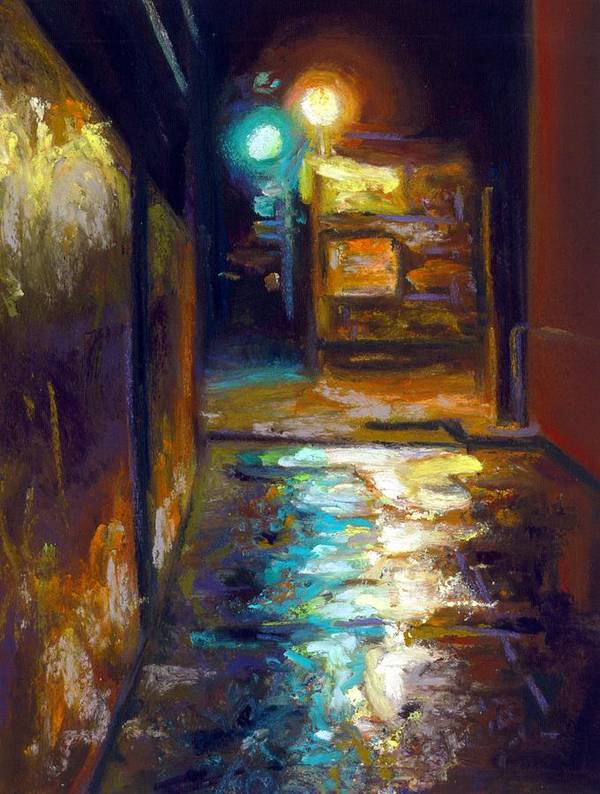Pastel Realism Cityscape Lightsn Alley Street Art Print featuring the painting Charleston Alley by Cameron Hampton PSA