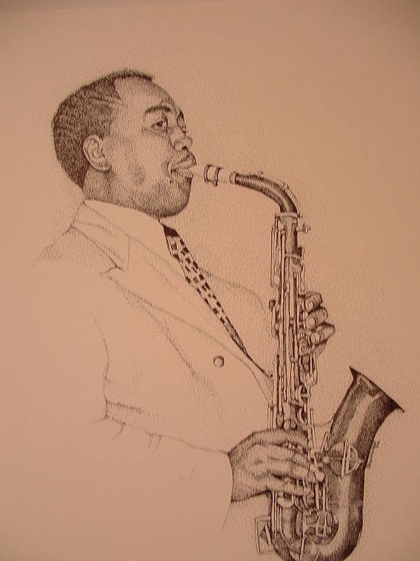 Sax Player Art Print featuring the drawing Charlie Parker by Leonard R Wilkinson