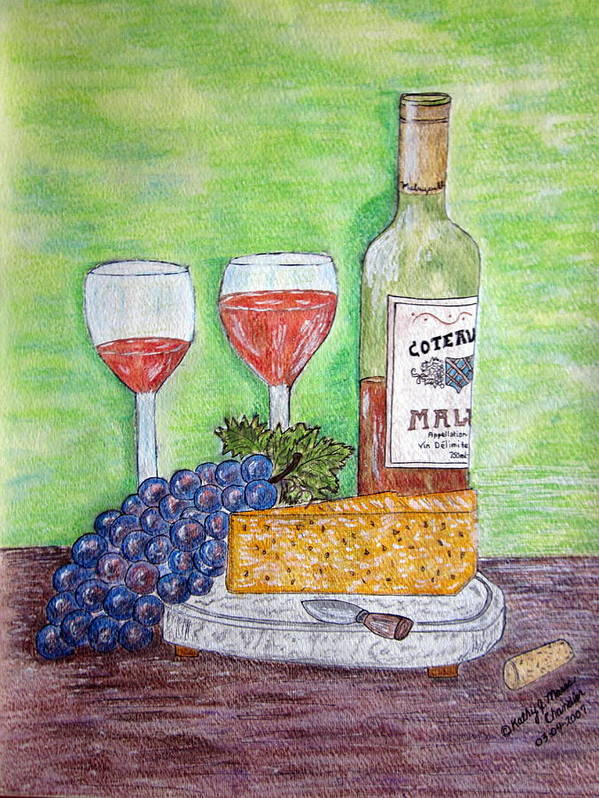 Cheese Art Print featuring the painting Cheese Wine And Grapes by Kathy Marrs Chandler
