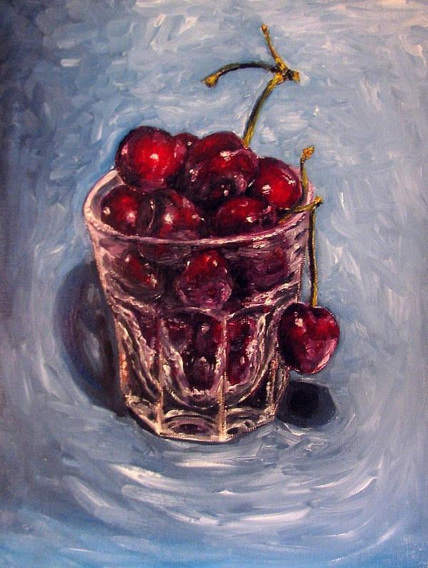 Red Art Print featuring the painting Cherries Original Oil Painting by Natalja Picugina