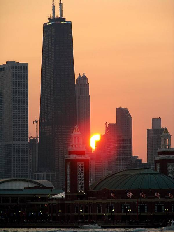 Photography Art Print featuring the photograph Chicago Sunset by Glory Fraulein Wolfe