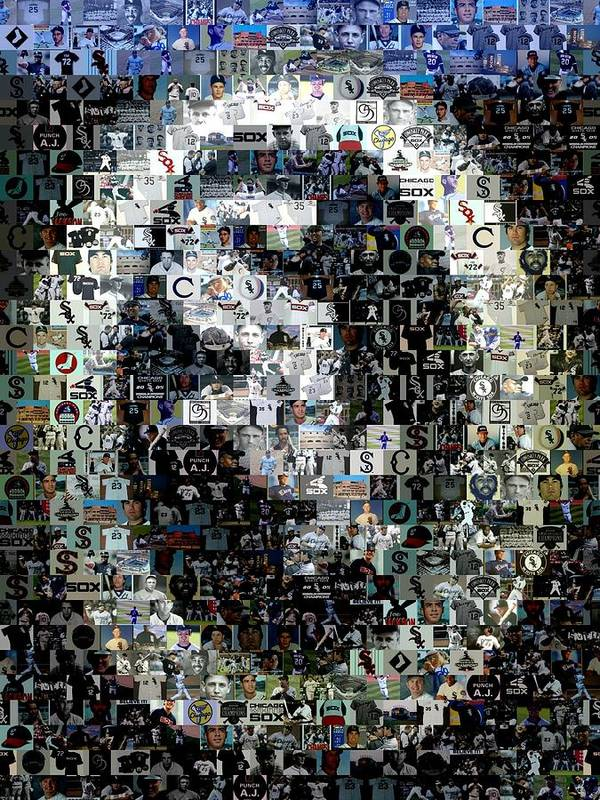 Chicago Art Print featuring the digital art Chicago White Sox Ring Mosaic by Paul Van Scott
