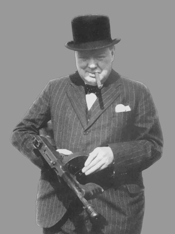 Winston Churchill Art Print featuring the painting Churchill Posing With A Tommy Gun by War Is Hell Store