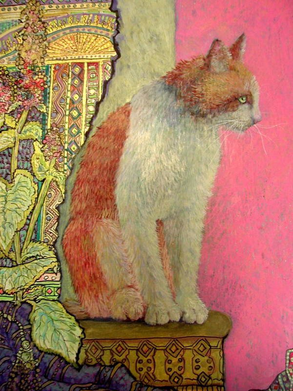 Cat Art Print featuring the painting Cinnamon by Wendy Hill