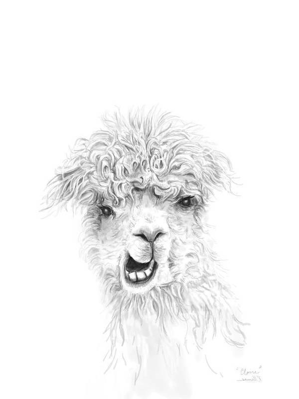 Llama Art Art Print featuring the drawing Claire by K Llamas