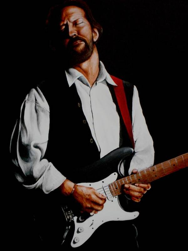 Clapton Art Print featuring the painting Clapton With Red Strap by Richard Klingbeil