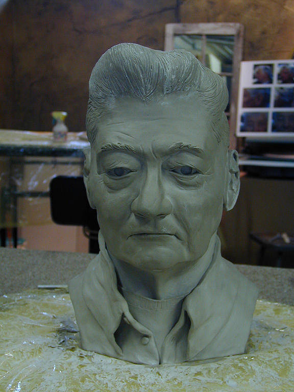 Portrait Sculpture Of An Elderly Man Art Print featuring the sculpture Clay Sculpture Of Gerald Simpson by Terri Meyer