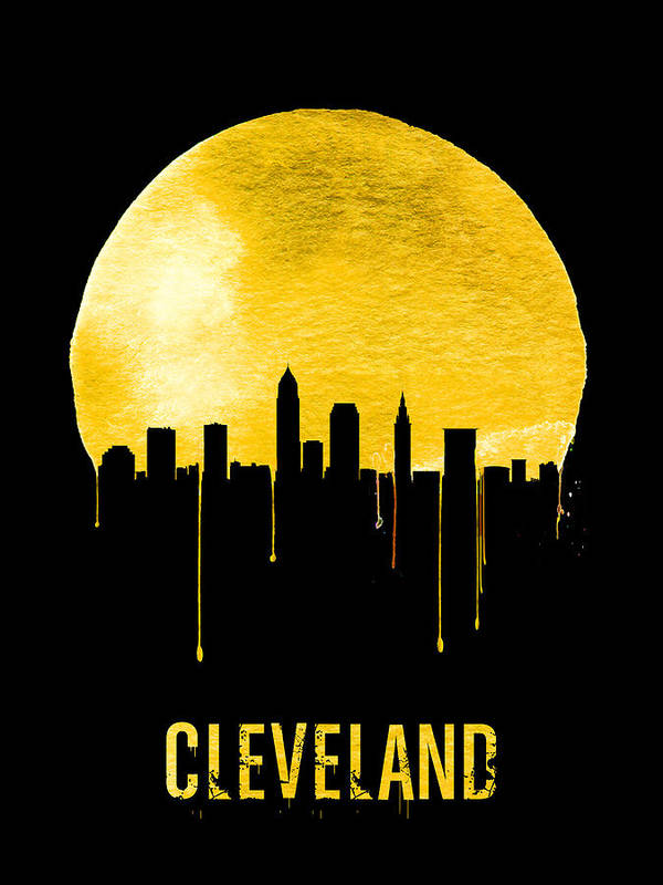 Cleveland Art Print featuring the painting Cleveland Skyline Yellow by Naxart Studio