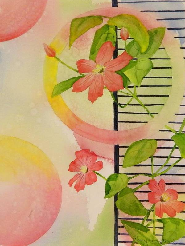 Flowers Art Print featuring the painting Climbing The Ladder Of Success by Terry Honstead