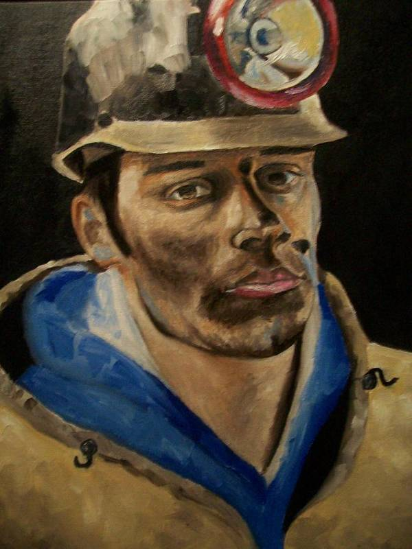 Coal Miner Paintings Art Print featuring the painting Coal Miner by Mikayla Ziegler