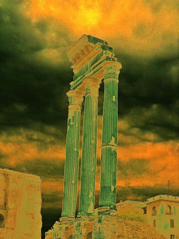 Rome Colonna Dark Sky Art Print featuring the photograph Colonna by Yury Bashkin