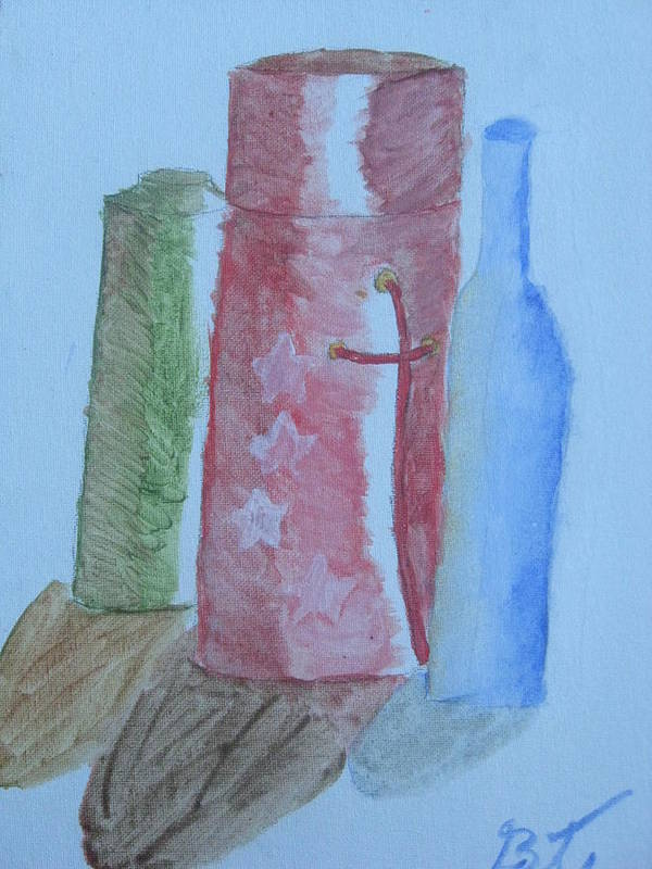 Acrylic Still Life Bottles Art Print featuring the painting Color And Shading by Brianna Emily Thompson