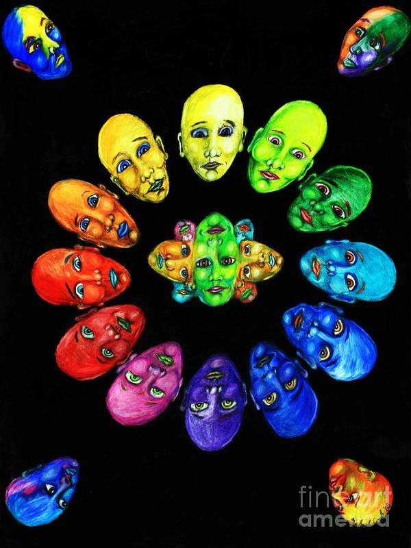 Color-wheel Color Theory Art Print featuring the drawing Colorful Minds by Michael Cook