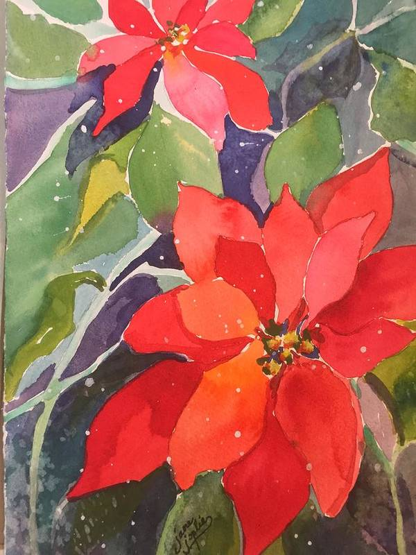 Red Art Print featuring the painting Colors Of Christmas by Jane Joplin