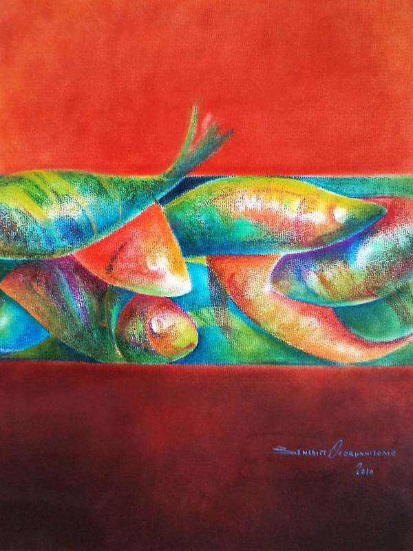 African Art Print featuring the painting Confined But Beautiful by Benedict Olorunnisomo