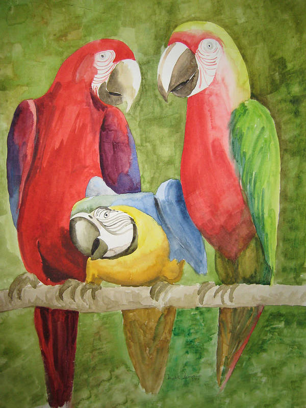 Parrots Art Print featuring the painting Conversation by Mabel Moyano