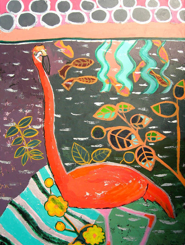 Flamingo Art Print featuring the painting Conversation With Flamingo by Aliza Souleyeva-Alexander