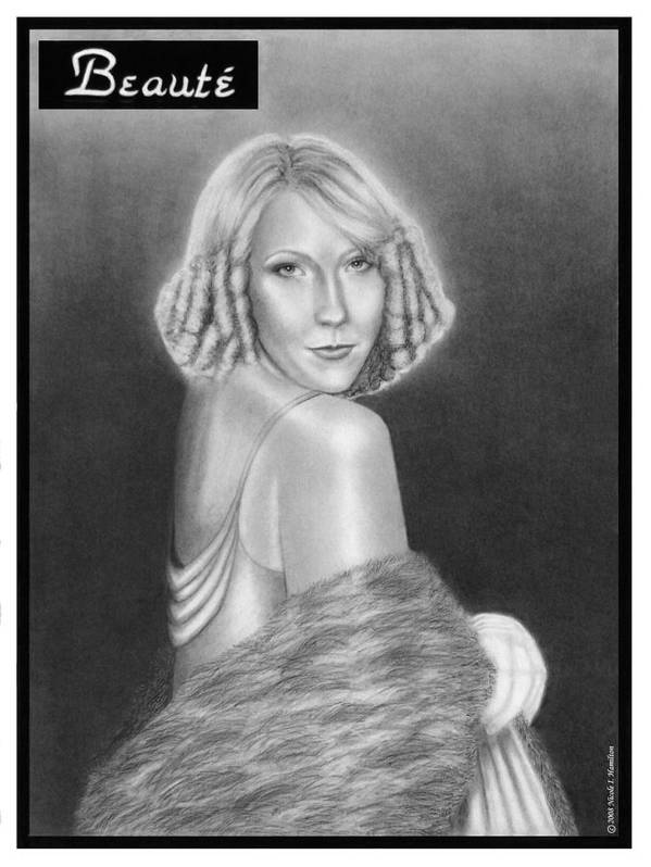 Model Art Print featuring the drawing Cover Girl by Nicole I Hamilton